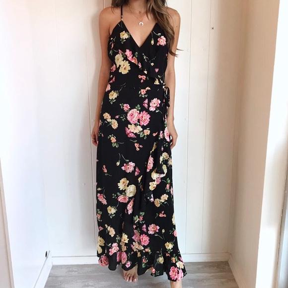Black Floral Wrap Maxi Dress 048f080a9
